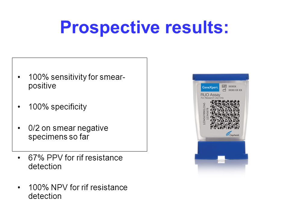 Prospective results: 100% sensitivity for smear-positive