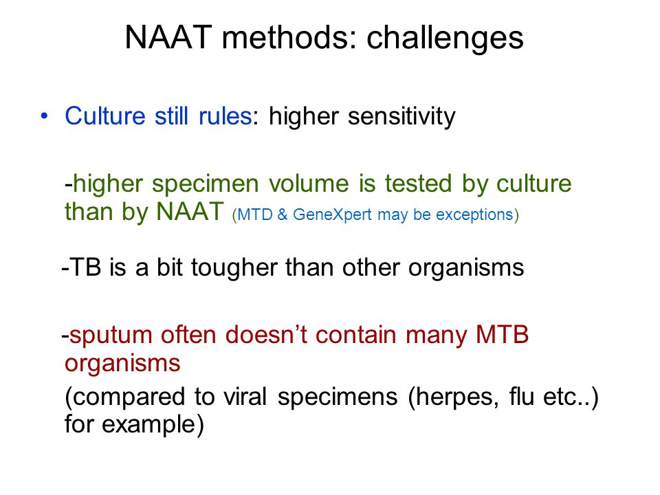 NAAT methods: challenges