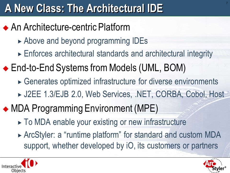 A New Class: The Architectural IDE