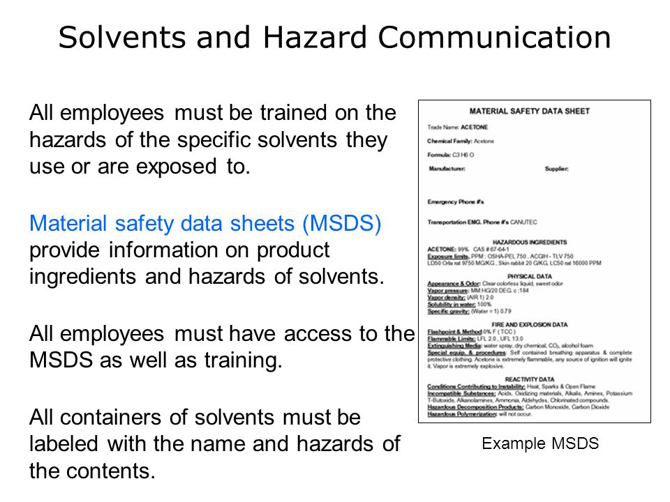 Solvents and Hazard Communication