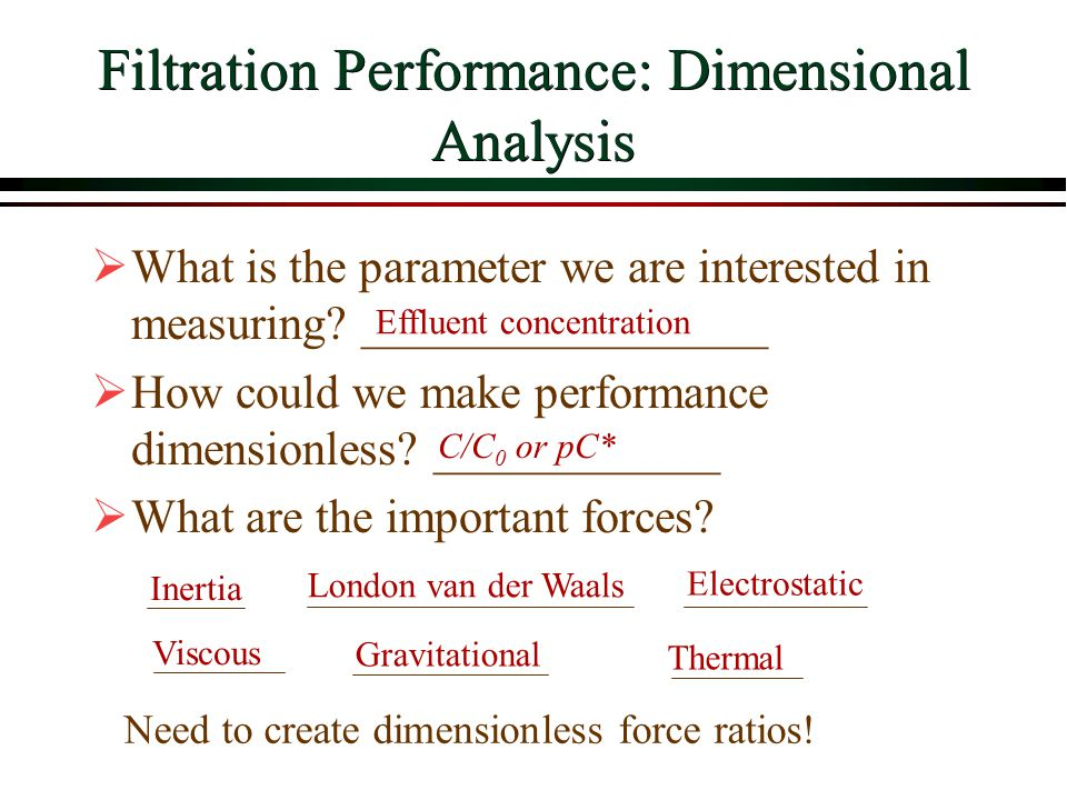 Filtration Performance: Dimensional Analysis