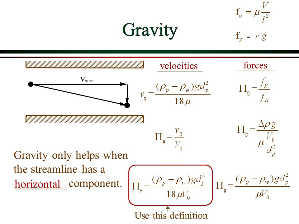 Gravity velocities. forces. v. pore. Gravity only helps when the streamline has a _________ component.
