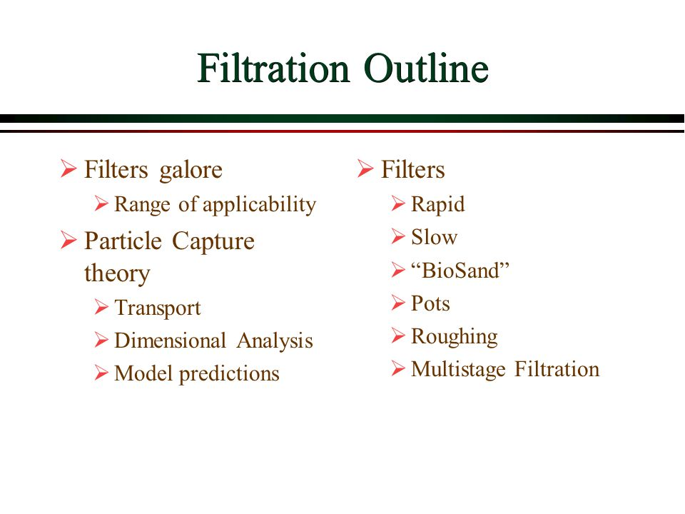 Filtration Outline Filters galore Particle Capture theory Filters