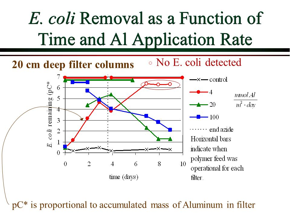 E. coli Removal as a Function of Time and Al Application Rate