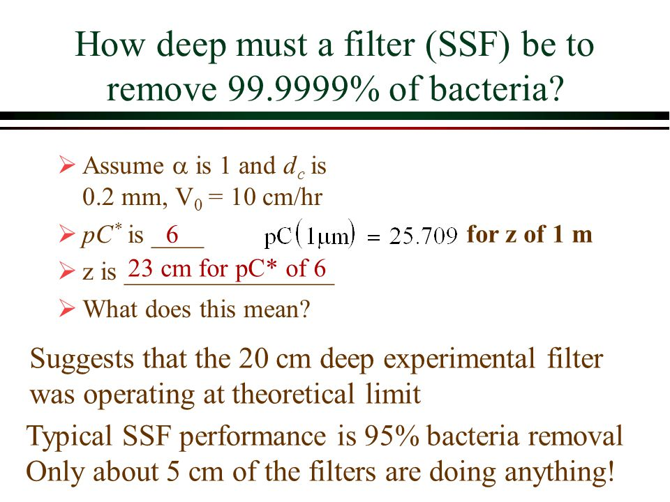 How deep must a filter (SSF) be to remove % of bacteria