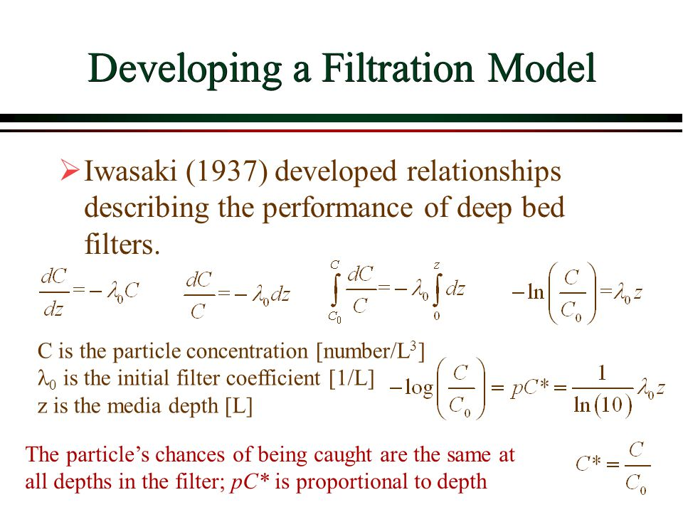 Developing a Filtration Model