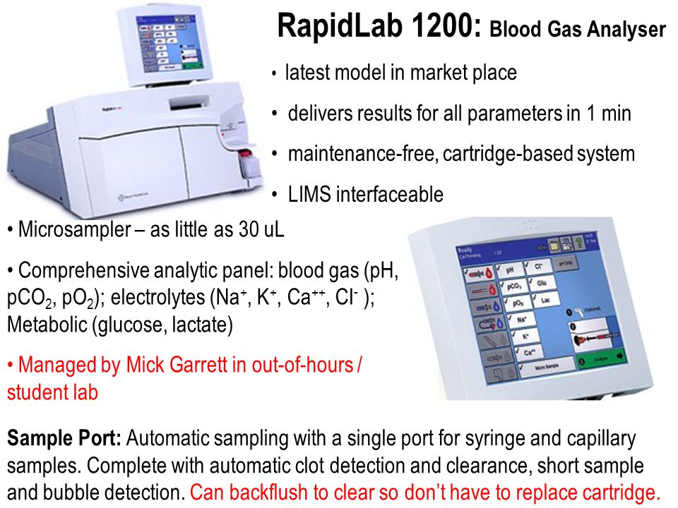 RapidLab 1200: Blood Gas Analyser