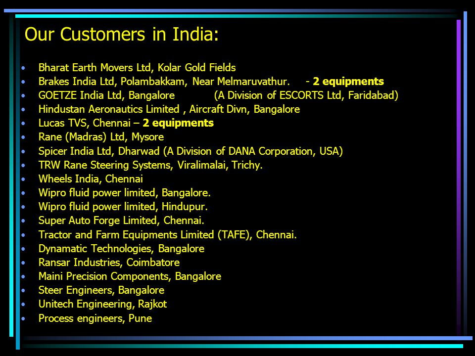 Our Customers in India:
