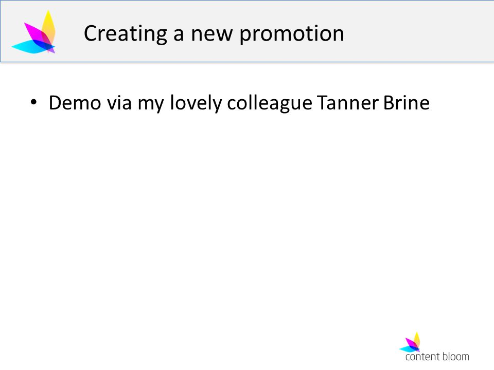 Creating a new promotion