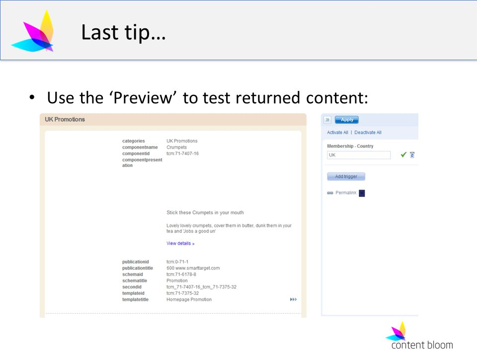 Last tip… Use the 'Preview' to test returned content: