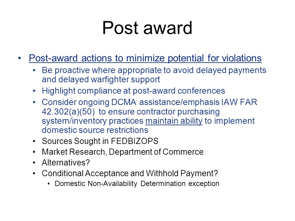 Post award Post-award actions to minimize potential for violations