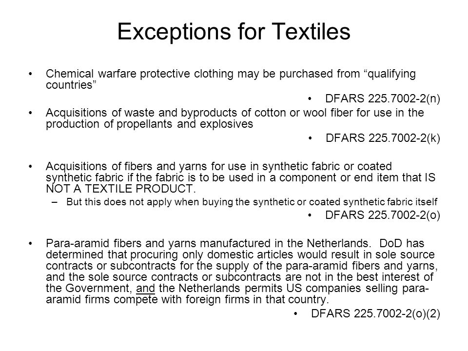 Exceptions for Textiles