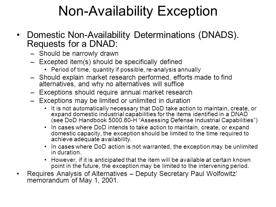 Non-Availability Exception