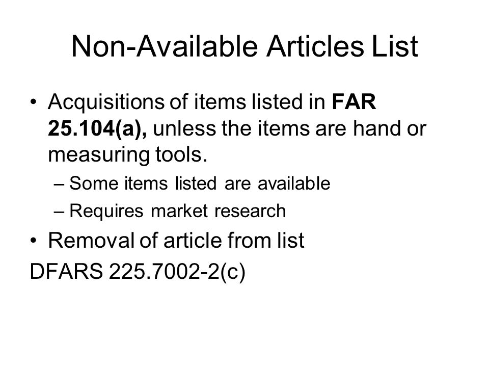 Non-Available Articles List
