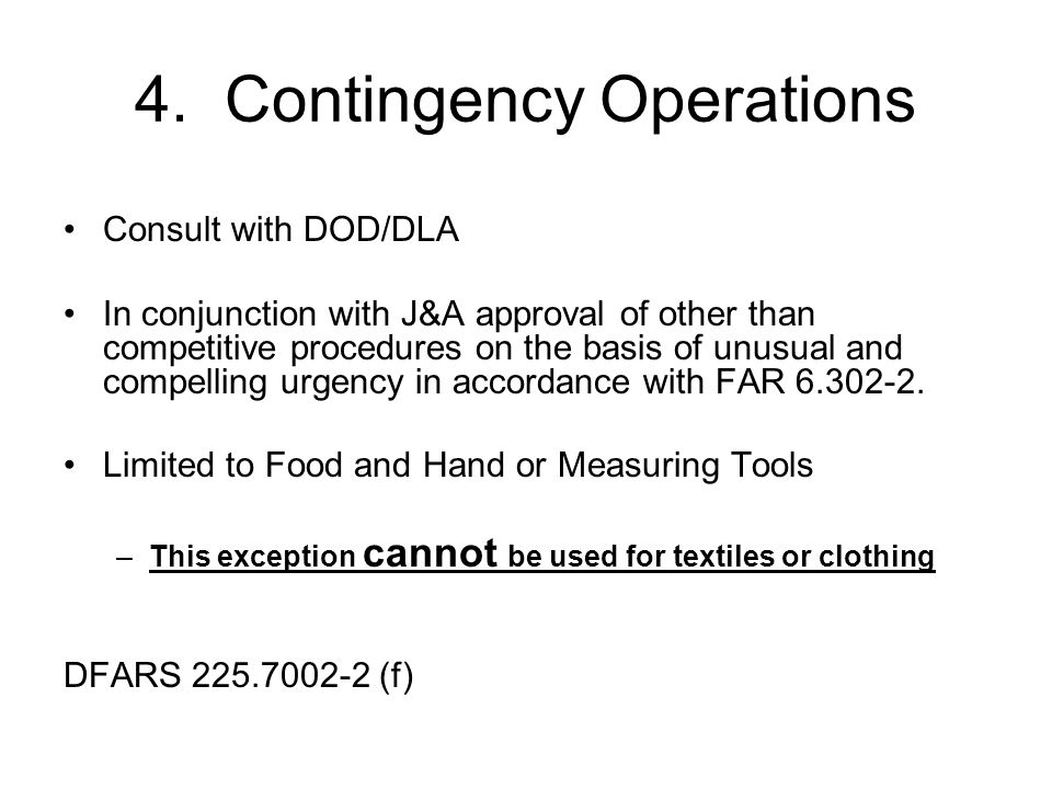 4. Contingency Operations