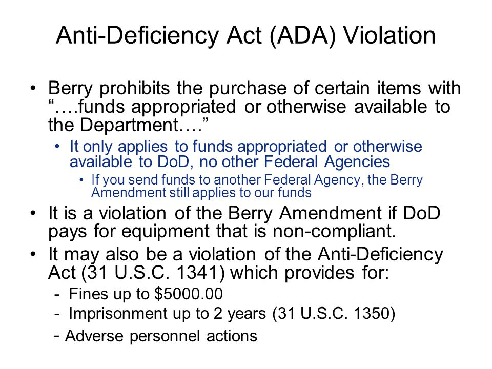 Anti-Deficiency Act (ADA) Violation