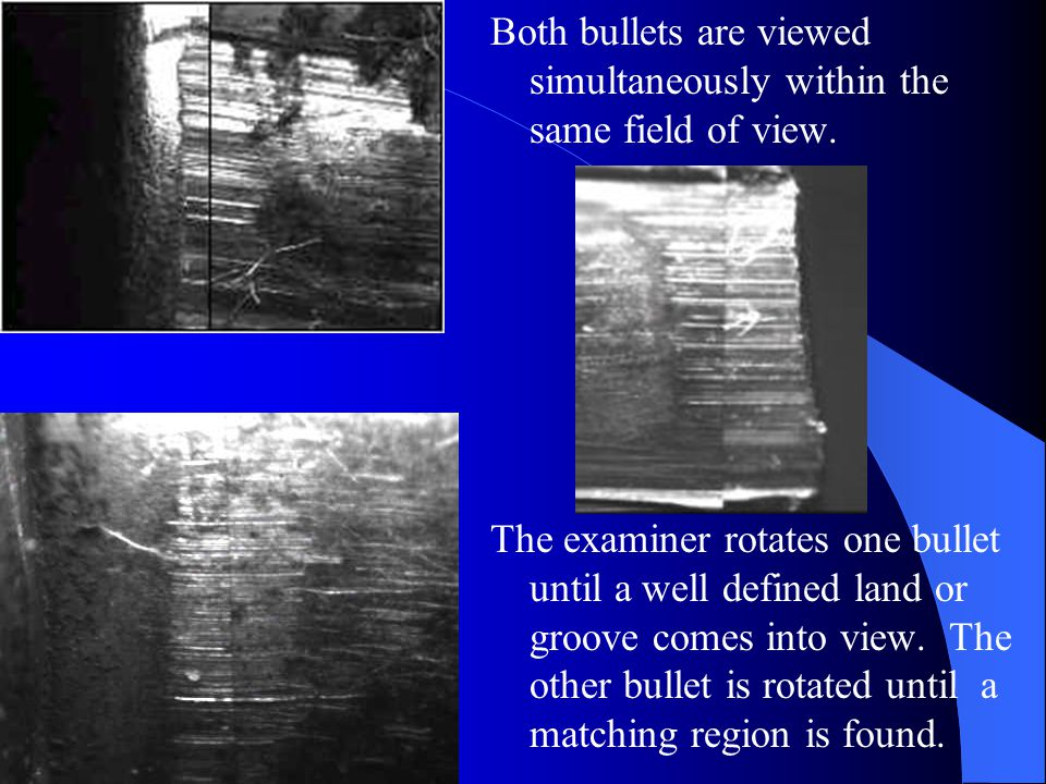 Both bullets are viewed simultaneously within the same field of view.