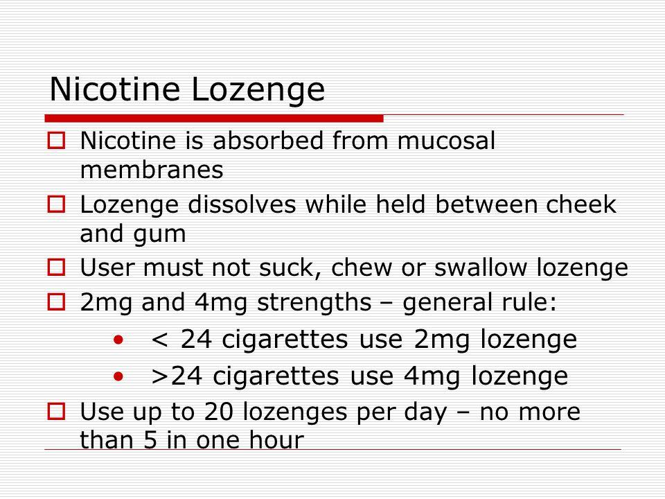Nicotine Lozenge < 24 cigarettes use 2mg lozenge