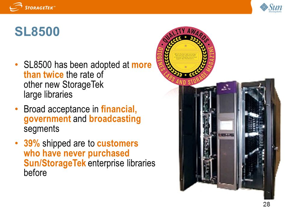 SL8500 SL8500 has been adopted at more than twice the rate of other new StorageTek large libraries.