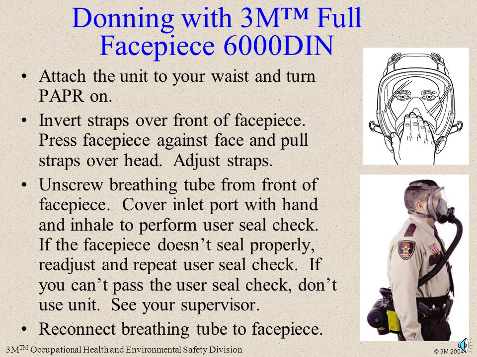 Donning with 3M™ Full Facepiece 6000DIN