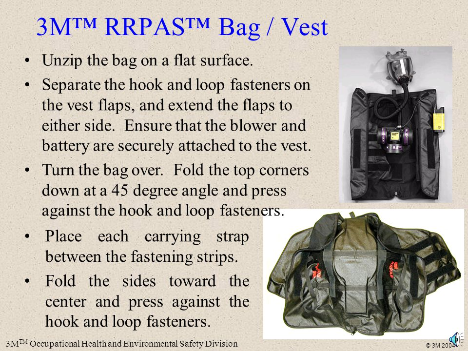 3M™ RRPAS™ Bag / Vest Unzip the bag on a flat surface.