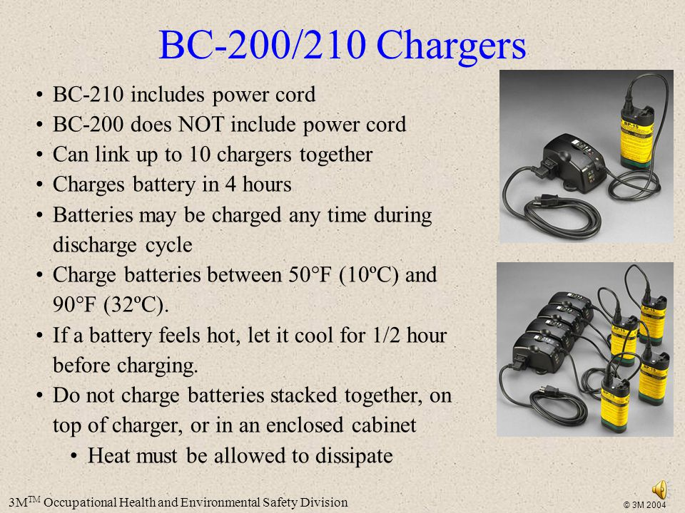 BC-200/210 Chargers BC-210 includes power cord