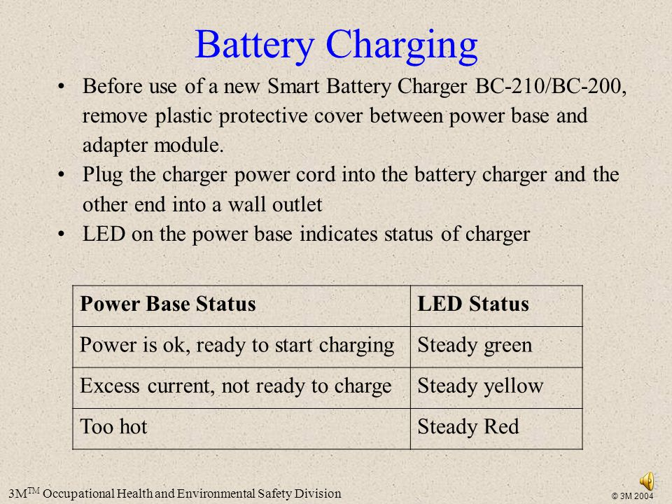 Battery Charging Before use of a new Smart Battery Charger BC-210/BC-200, remove plastic protective cover between power base and adapter module.