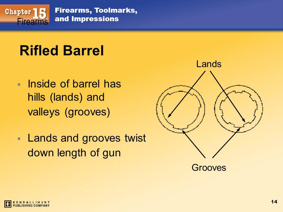 Rifled Barrel Inside of barrel has hills (lands) and valleys (grooves)