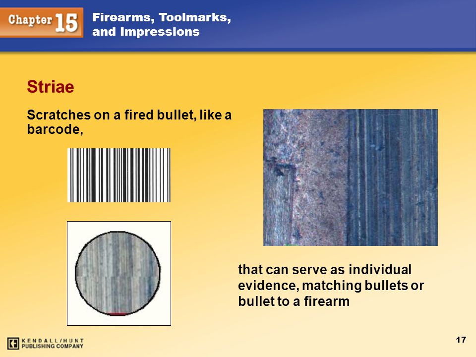 Scratches on a fired bullet, like a barcode,