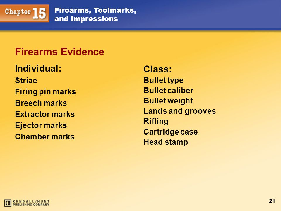 Firearms Evidence Individual: Class: Striae Firing pin marks