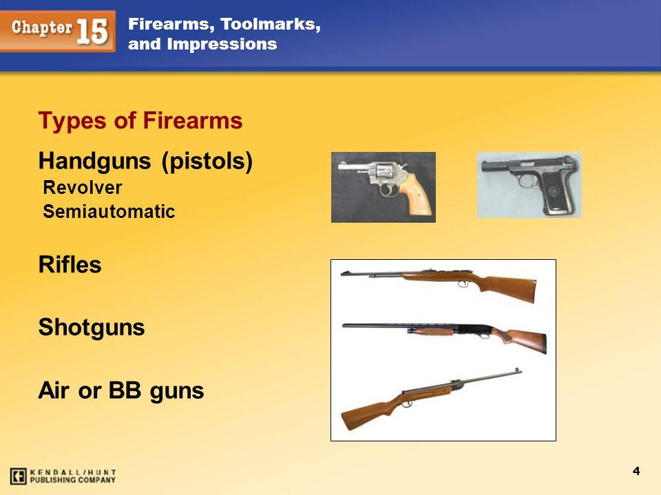 Types of Firearms Handguns (pistols) Rifles Shotguns Air or BB guns