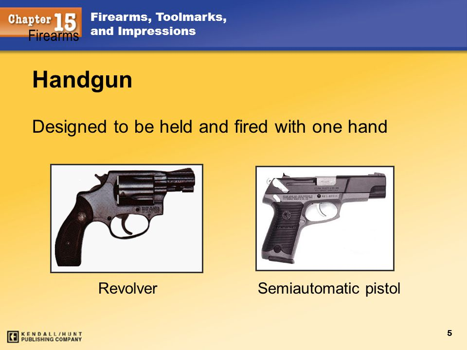 Handgun Designed to be held and fired with one hand Firearms Revolver