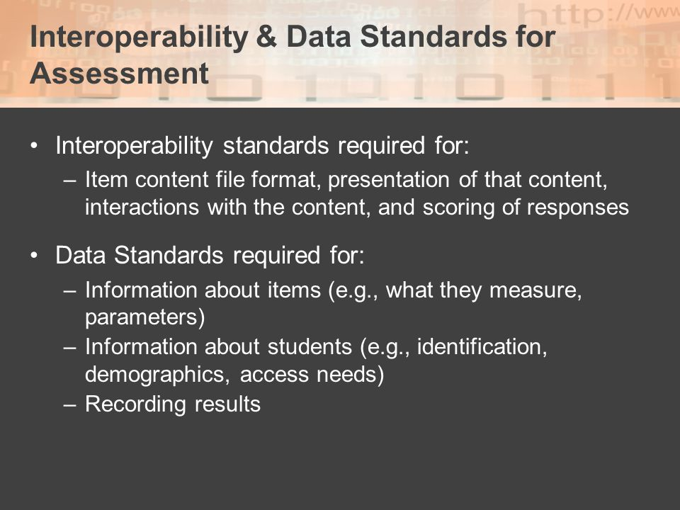 Interoperability & Data Standards for Assessment