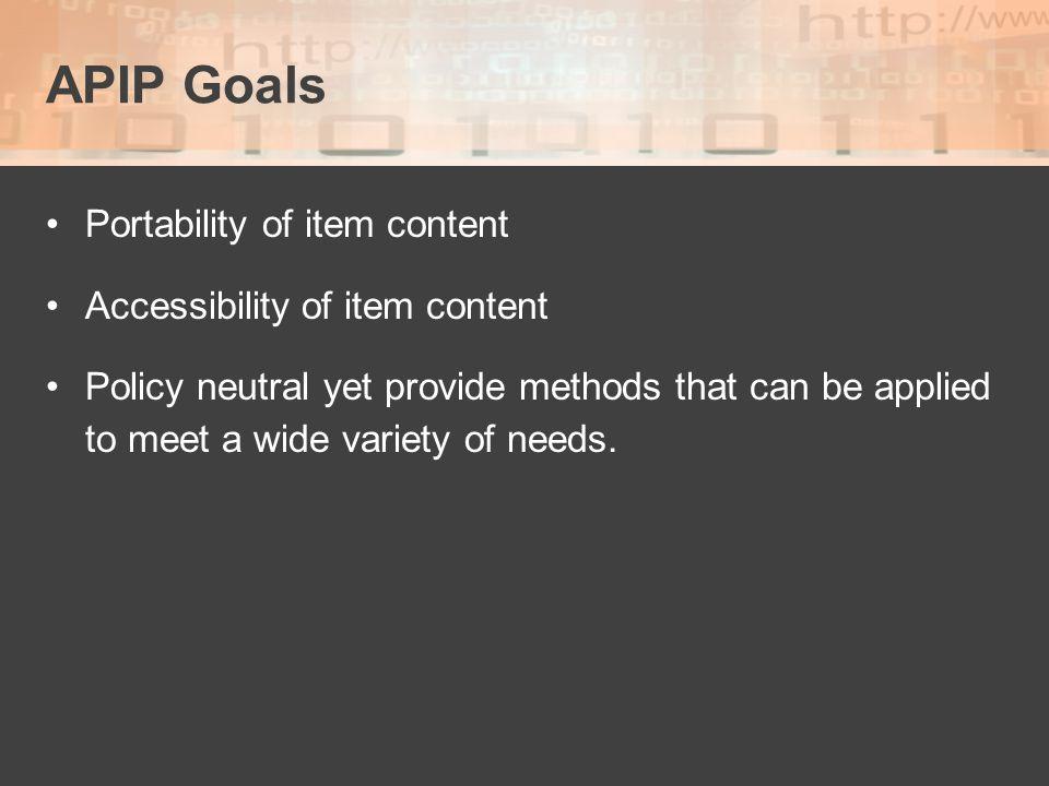 APIP Goals Portability of item content Accessibility of item content