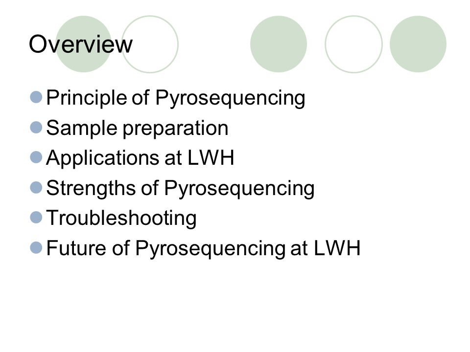 Overview Principle of Pyrosequencing Sample preparation