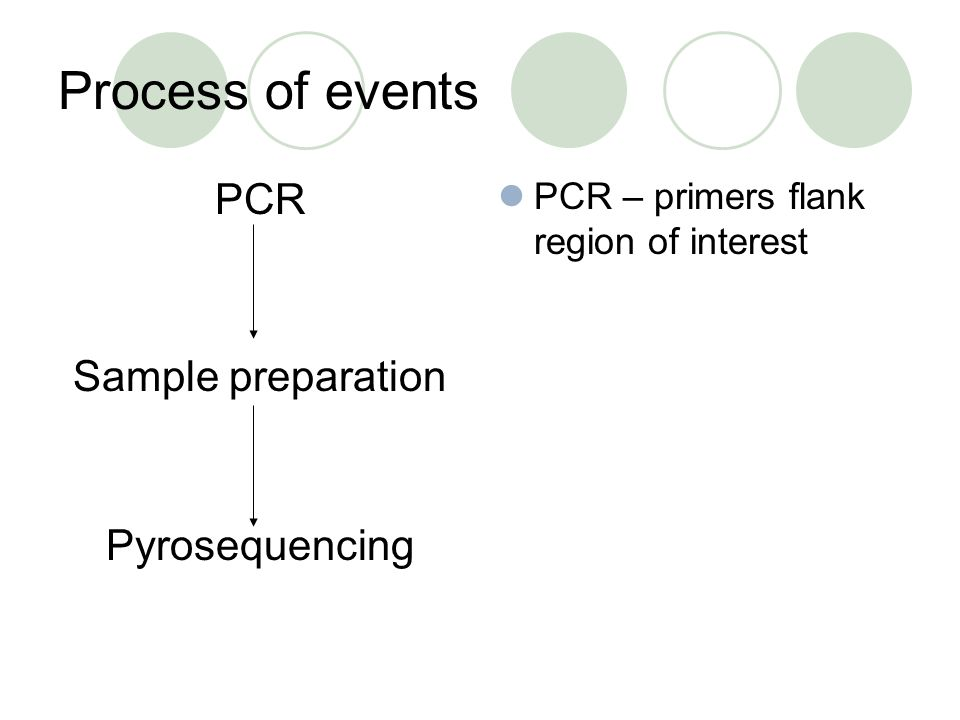 Process of events PCR Sample preparation Pyrosequencing