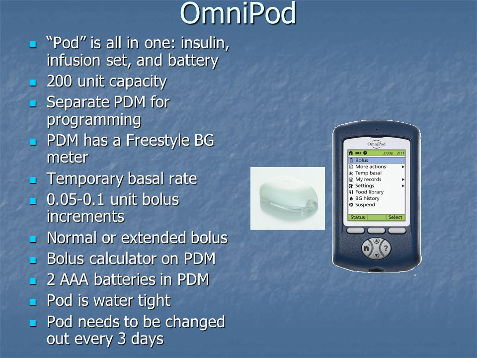 OmniPod Pod is all in one: insulin, infusion set, and battery