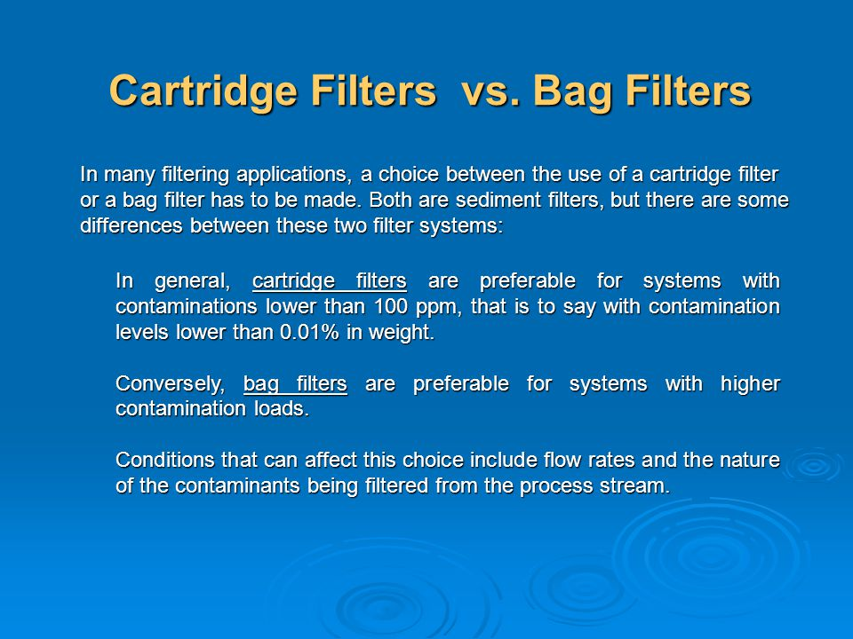 Cartridge Filters vs. Bag Filters