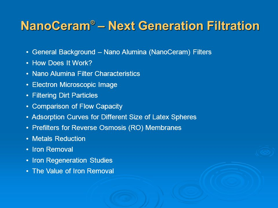 NanoCeram® – Next Generation Filtration