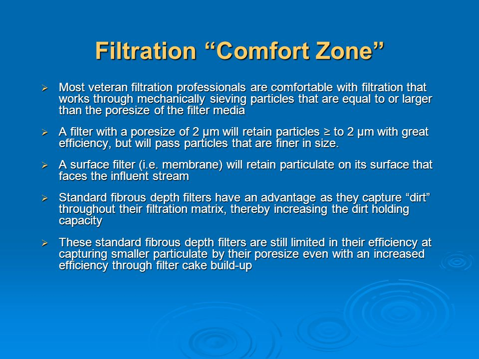 Filtration Comfort Zone