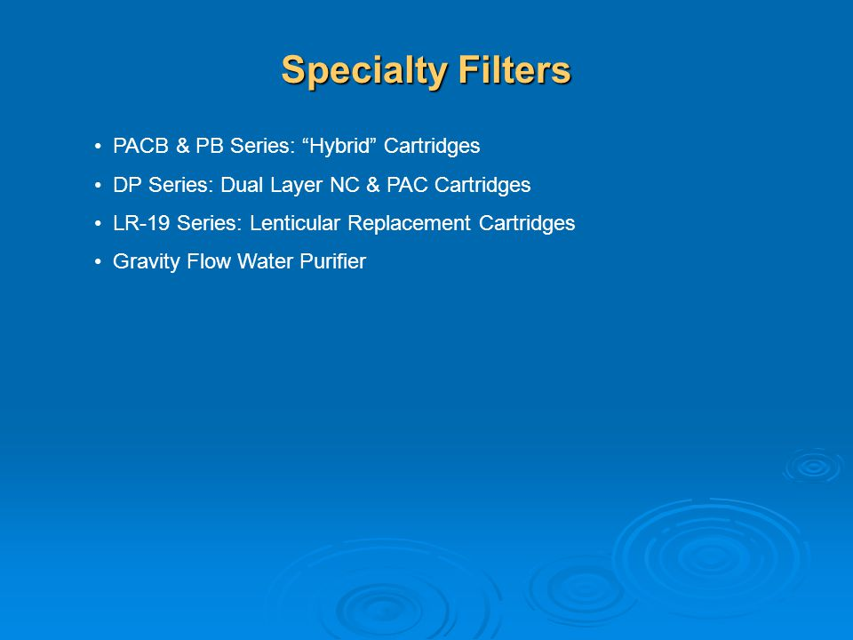 Specialty Filters PACB & PB Series: Hybrid Cartridges