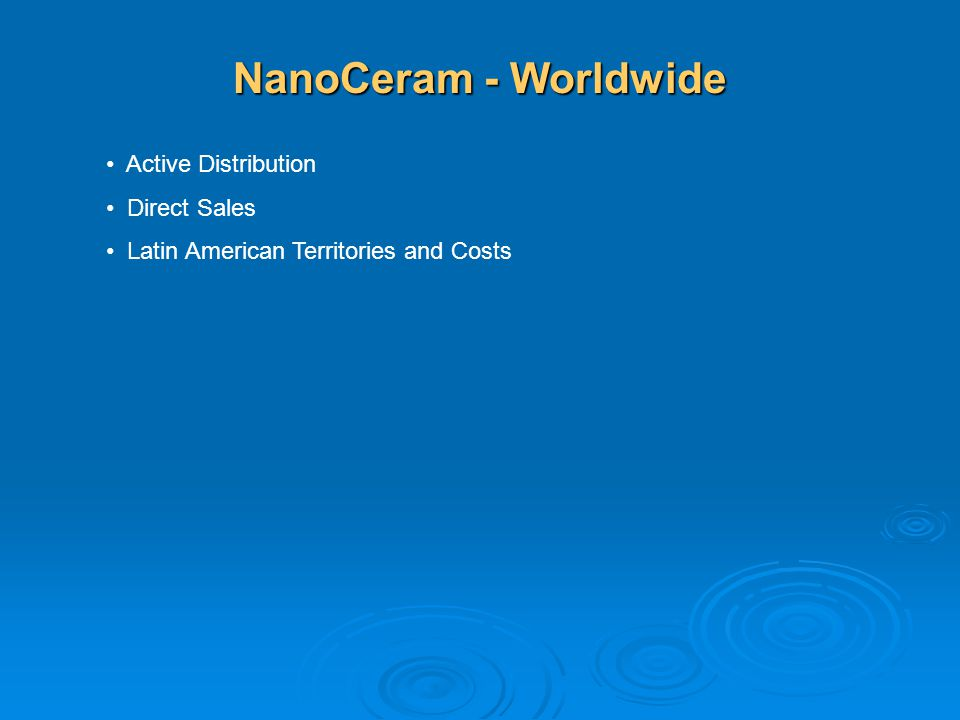 NanoCeram - Worldwide Active Distribution Direct Sales
