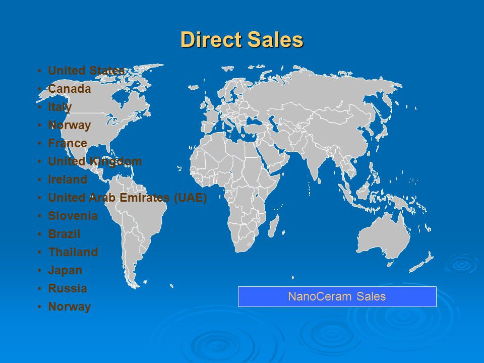 Direct Sales United States Canada Italy Norway France United Kingdom