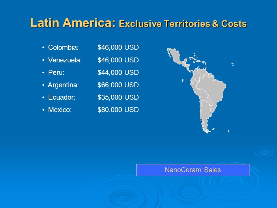 Latin America: Exclusive Territories & Costs