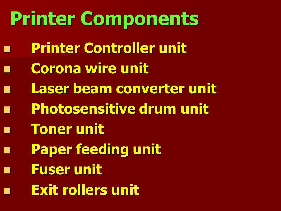 Printer Components Printer Controller unit Corona wire unit