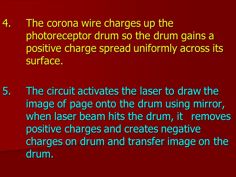 4. The corona wire charges up the