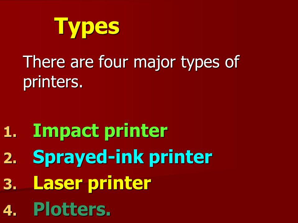 Types Impact printer Sprayed-ink printer Laser printer Plotters.