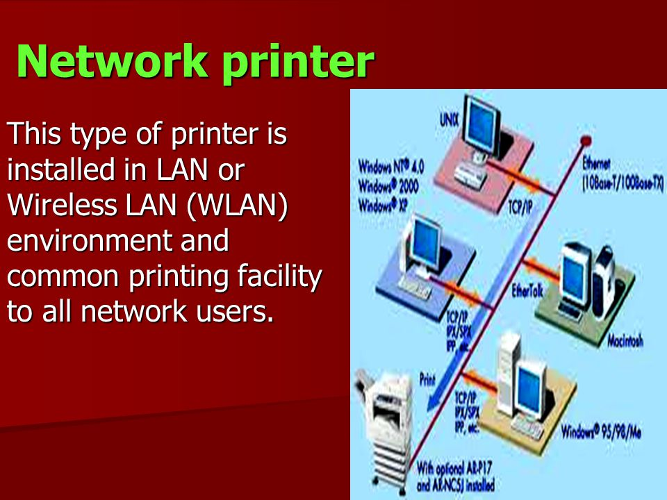 Network printer This type of printer is installed in LAN or Wireless LAN (WLAN) environment and common printing facility to all network users.