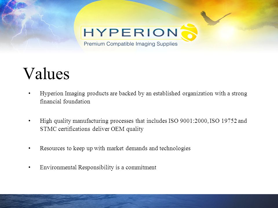 Values Hyperion Imaging products are backed by an established organization with a strong financial foundation.