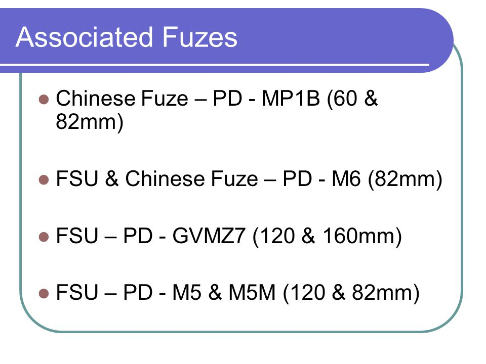 Associated Fuzes Chinese Fuze – PD - MP1B (60 & 82mm)